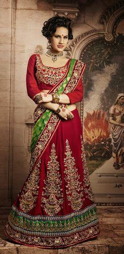 Buy Opulent designer red lehenga saree Online Rs 11590