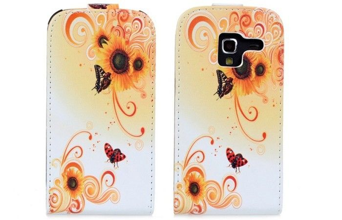 Flower Printing Pattern Stained Case Flip Cover