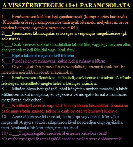 Visszérbetegek tízparancsolata