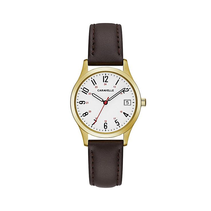 Caravelle New York by Bulova Goldtone Stainless Steel Round White Dial Date Window Brown Leather Strap Watch