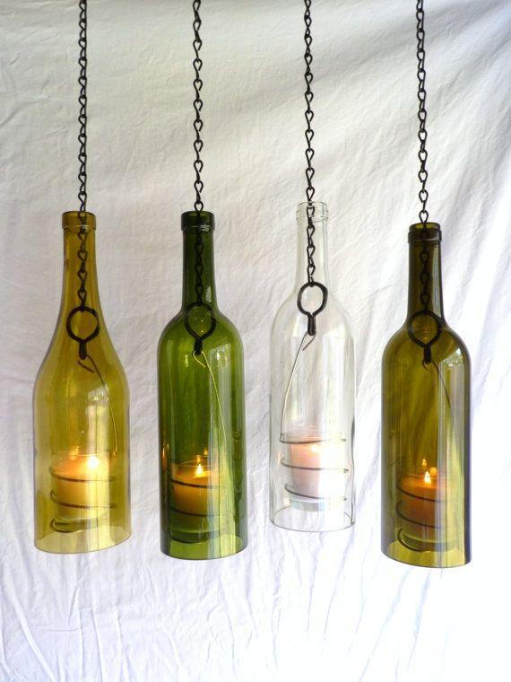 21 best wine bottle candle holder images on pinterest for Wine bottle candle holder craft