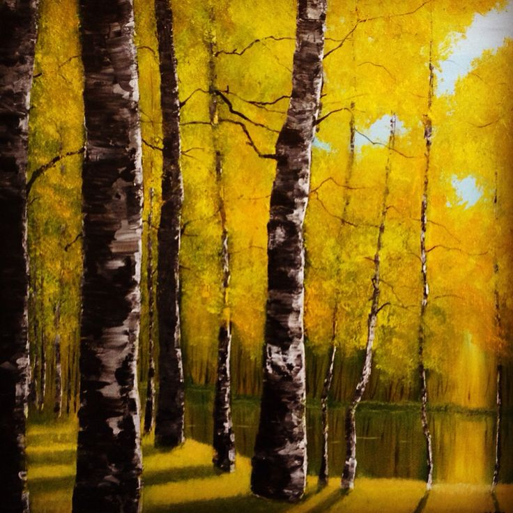"""Aspen forest in autumn, oil on 3D canvas, 60x60cm, """"the seasons collection"""" #commission #artwork #art #artist #oil #canvas #arts #daily #instaart #instagood #instagram #instadaily #instaartist #aspen #tree #river #landscape #gallery"""