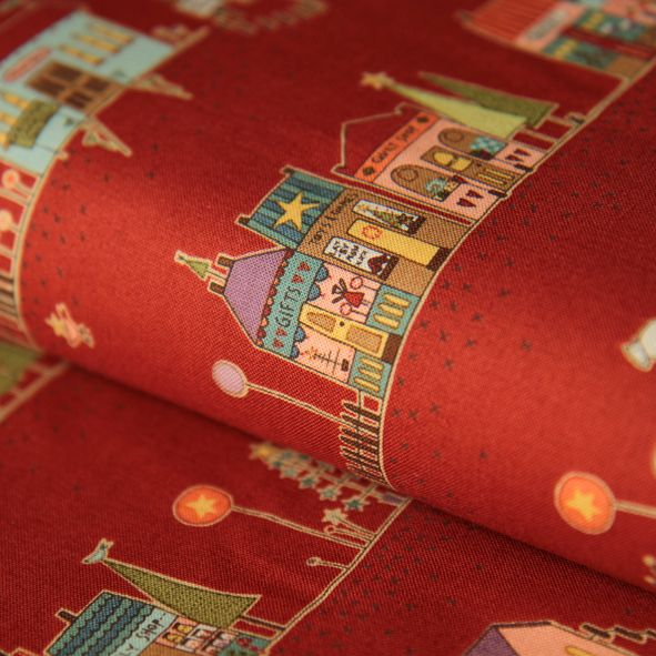 Bavlněná vánoční látka Domečky červené HG