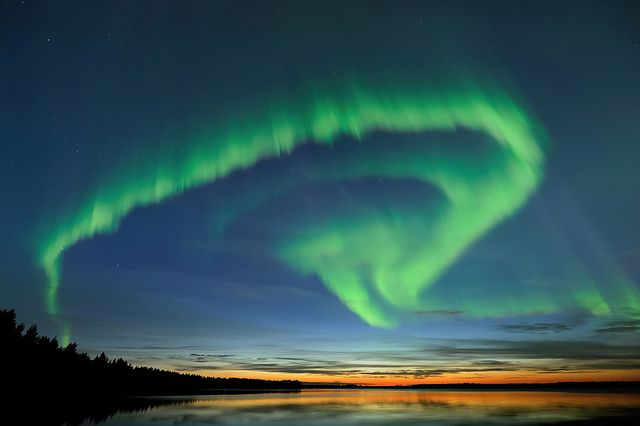 Summer Northern Lights in Oulu, Finland