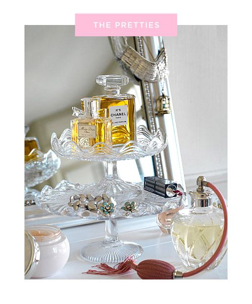 Raid the Kitchen--tiered cake stands to reduce clutter and display perfume or other products, earrings, rings, watches, etc