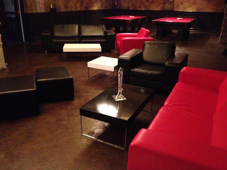 Hugo + Metal Coffee Table + Leather Ottomans