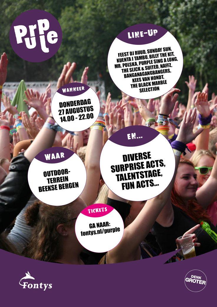 Line-up voor Purple Festival 2015 #fontys #denkgroter #purple