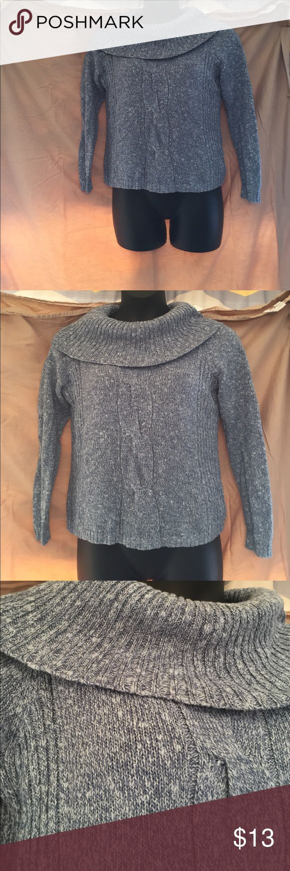 Sag Harbor Cowl Neck Sweater Worn once. No flaws. Sparkly silver thread mixed in with blue. Cowl Neck. Sag Harbor Sweaters Cowl & Turtlenecks