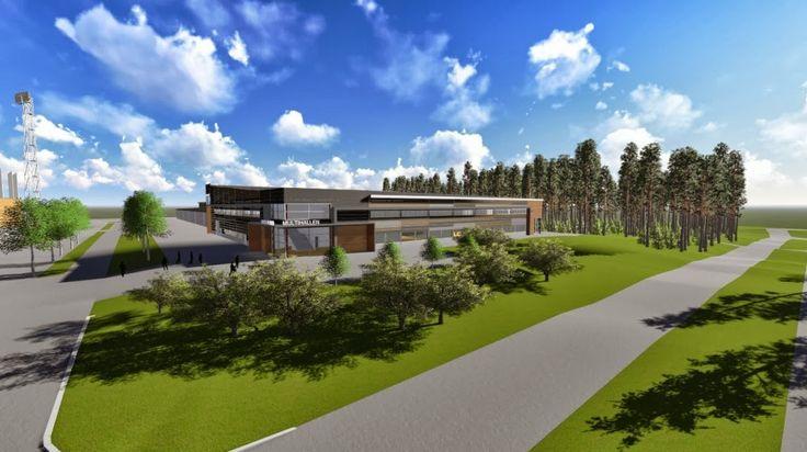 Gävle | Illustration av multisporthallen mot Idrottsvägen