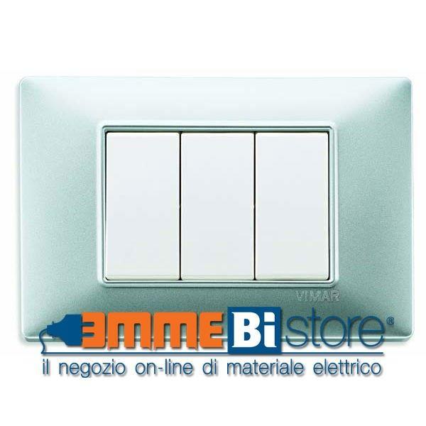 #Placca 3 moduli #argento opaco #Vimar #Plana #arredamento  #design di interni