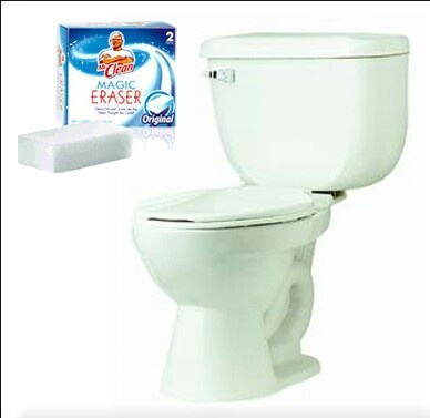 Snip off a slice of a Magic Eraser and drop it in the toilet. Let it float overnight and it'll remove any toilet ring. No scrubbing! No one wants to be touching toilet germs, not even with gloves on.