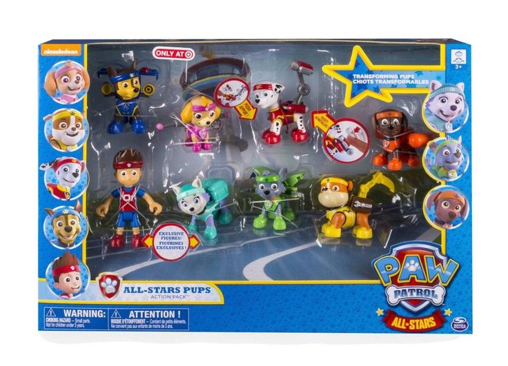 Paw Patrol All-Stars Pups Action Packs Toy Figures Set NIB Ryder Plus 7 Pups!