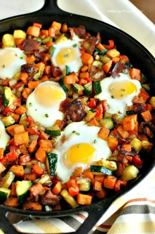 Sweet Potato Breakfast Skillet with Bacon. ☀CQ #glutenfree #bacon