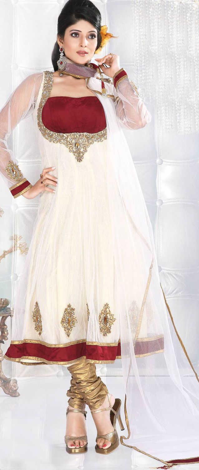 #White #Anarkali Churidar