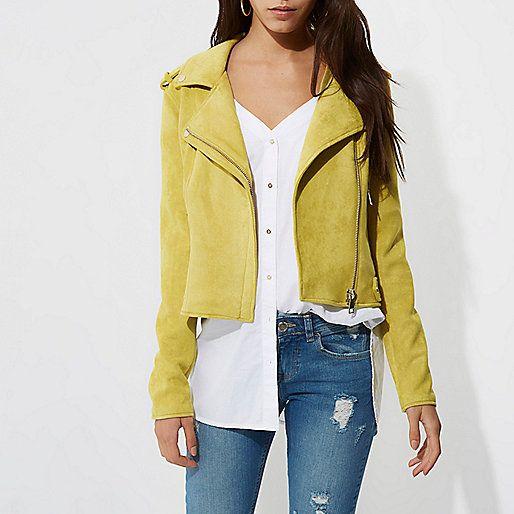 Yellow faux suede biker jacket - jackets - coats / jackets - women