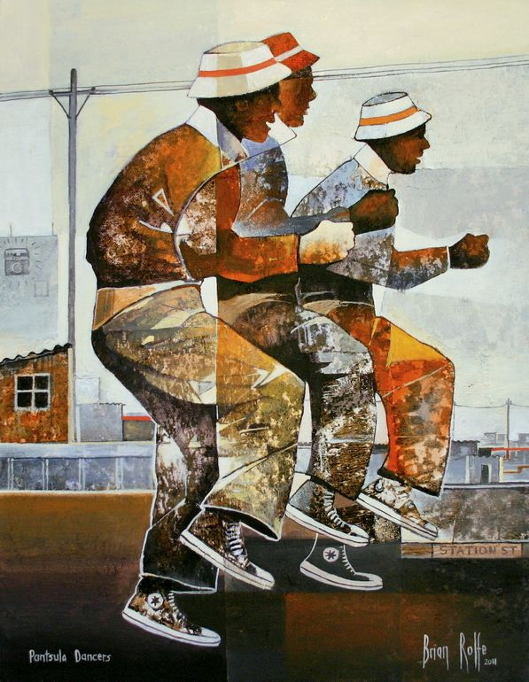 "Saatchi Online Artist: Brian Rolfe; Acrylic, 2011, Painting """"Pantsula Dancers"""""