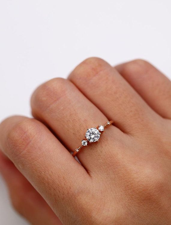 5mm Moissanite Engagement Ring Vintage Unique Diamond Cluster Ring