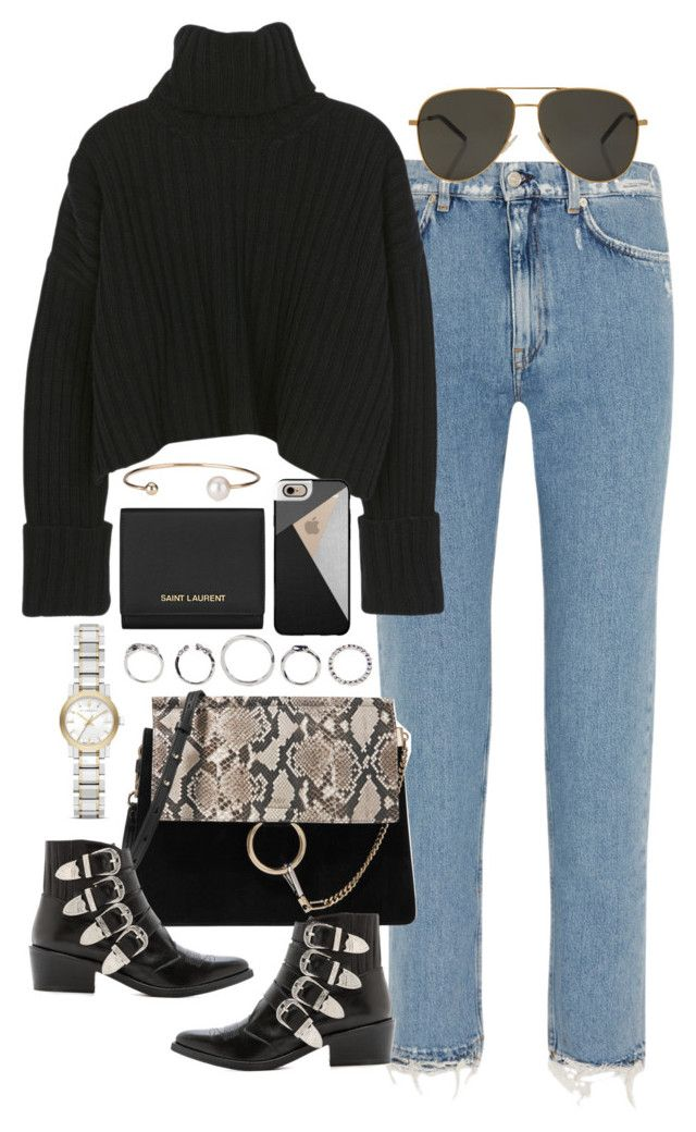 """""""Untitled #3792"""" by lily-tubman ❤ liked on Polyvore featuring Acne Studios, Chloé, Toga, Burberry, Casetify, Yves Saint Laurent and Letters By Zoe"""