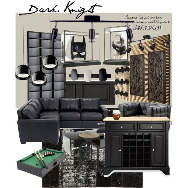 Man Caves Batman : Batman man cave polyvore interior creations pinterest