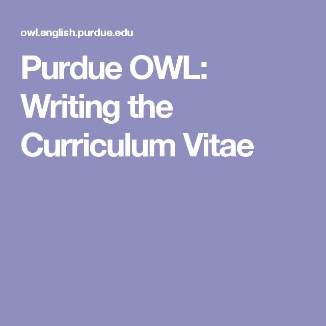 25+ best ideas about Curriculum vitae para estudiantes on - purdue owl resume