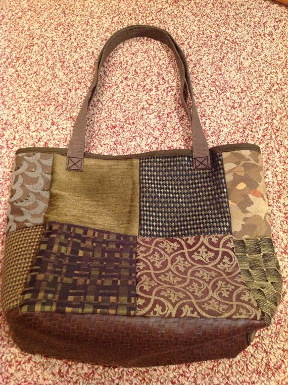 Camouflage Green Patchwork Shoulder Tote Bag Purse Made From Upcycled Upholstery  Fabric Samples By Babaghoria.