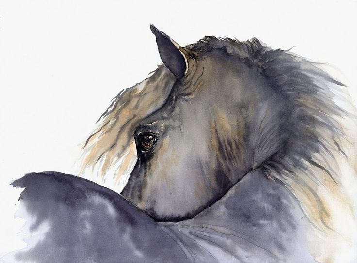 horse painting Looks Twice giclee print of original watercolor painting. $40.00, via Etsy.