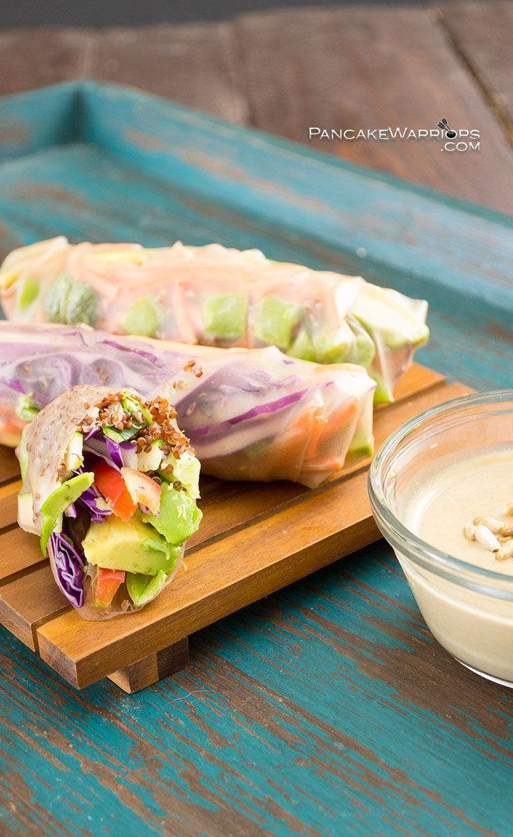 The crunch of fresh veggies paired with a creamy Asian inspired dipping sauce all together in one fantastic healthy spring roll. Gluten free, vegan, paleo, these are sure to fill you up without weighing you down. Perfect for lunch or dinner. Vegan, gluten free, paleo.  | http://www.pancakewarriors.com
