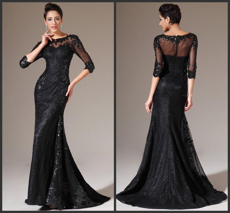 Maxi Evening Dresses 2014 Sexy See Through Black Scoop Neckline Mermaid Lace Sequins Appliques Illusion 3/4 Long Sleeves Sweep Train Prom Gowns Evening Dresses Long Gowns Online From Bridalsky, $117.77  Dhgate.Com