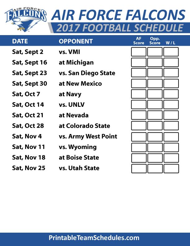 2017 Air Force Falcons Football Schedule