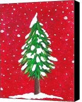Whimsical Christmas Tree Canvas Prints - Oh Christmas Tree Canvas Print by Oddball Art Co by Lizzy Love