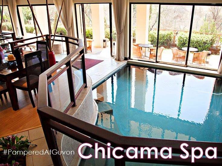 """The award-winning Chicama Country Spa at Glenburn Lodge, in the heart of the Cradle of Humankind, is located in tranquil, scenic and calming surroundings with spectacular views from every angle. Our """"Vineyard"""" theme and décor is complemented with the use of Theravine products. #PamperedAtGuvon #atGuvon #indoorpool"""