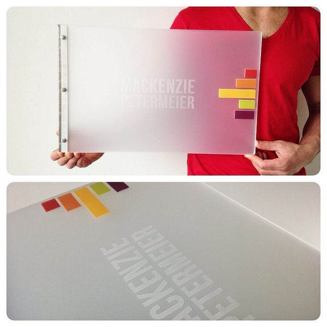 Custom Graphic Design Portfolio Book- Frosted clear acrylic with engraving and custom decal treatment | Flickr - Photo Sharing!