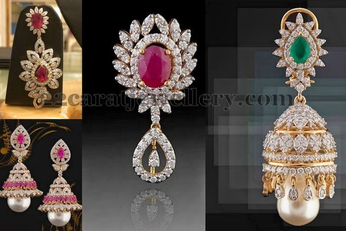 Jewellery Designs: Latest Classic Diamond Jhumkas Earrings