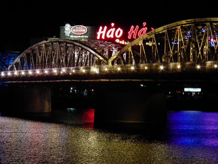 Bridge over the Perfume River lit up at night, #Hue #Vietnam
