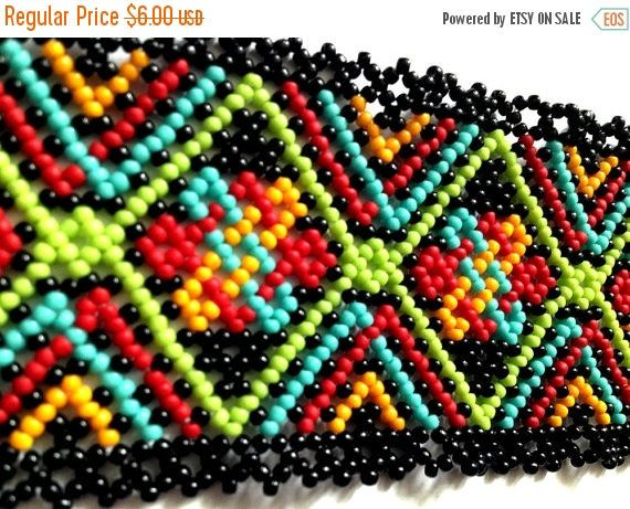 20% SALE Boho huichol bracelet pattern