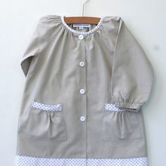 Tablier/blouse écolier 4 ans  et 5 ans en coton gris clair à manches raglan