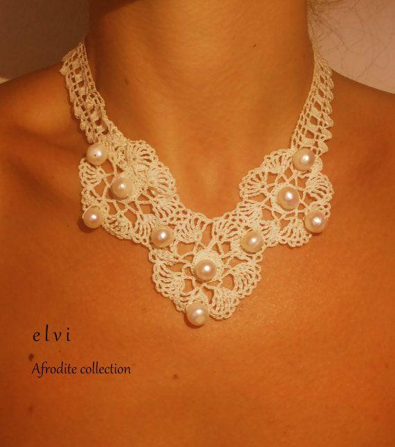 Crochet necklace,crochet neck accessory, handmade necklace, white necklace, necklace with pearls, for her, for girl, for women, present gift