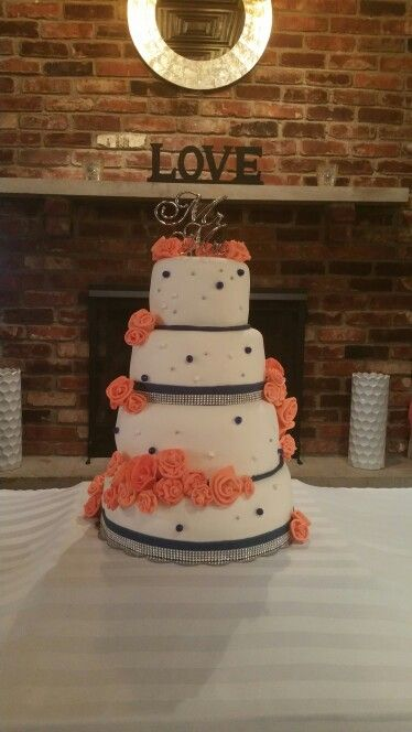 Coral and Royal blue wedding cake