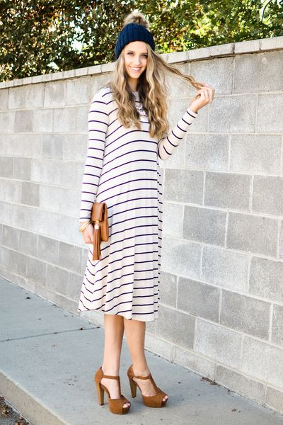 Bethany Stripe Trapeze Dress In Oatmeal - My Sisters Closet