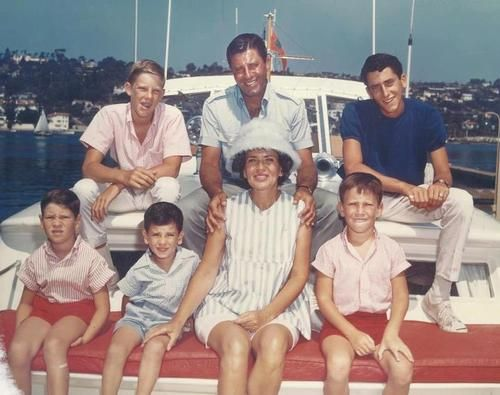 Jerry and Patti Lewis with 5 of their 6 boys in the early part of the 60s. L-R top Ronnie, Jerry, Gary - L-R bottom Chris, Tony, Pattie and Scott aboard the family yacht in Newport, Cali