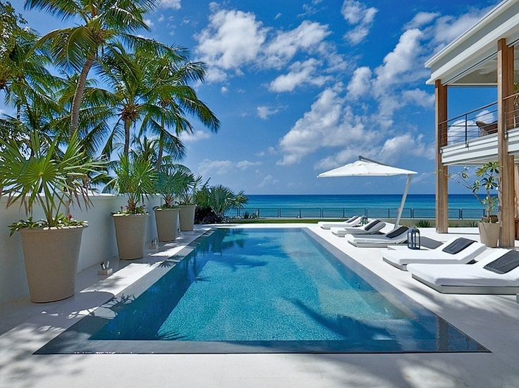 "Barbados Looking to go a bit farther afield? This modern waterfront Barbados villa is known as ""The Dream."" via @lonnymag"