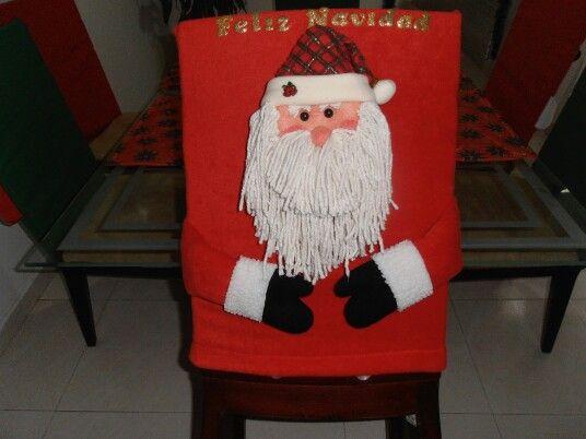 Forros de sillas navideñas en paño lency, flee, telas estampadas, pintados a mano con muñequería y letras en foamy informes: 3145449524 - 3008390190 E-mail: marybarrancog@gmail.com #Barranquilla #Colombia #Manualidades