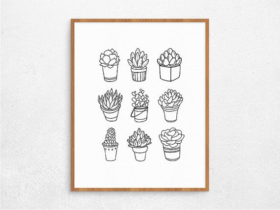Succulent Digital Poster Printable Cactus by PaperIslandDesign