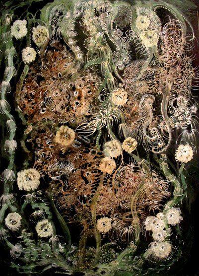 """Nous vous présentons la nouvelle artiste de la Galerie Polysémie: Izabella Ortiz !  We proudly present the the new artist of Gallery Polysémie: Izabella Ortiz!  (encre/techniques mixtes, 50x70, série """"Water Memories"""", 2016)"""
