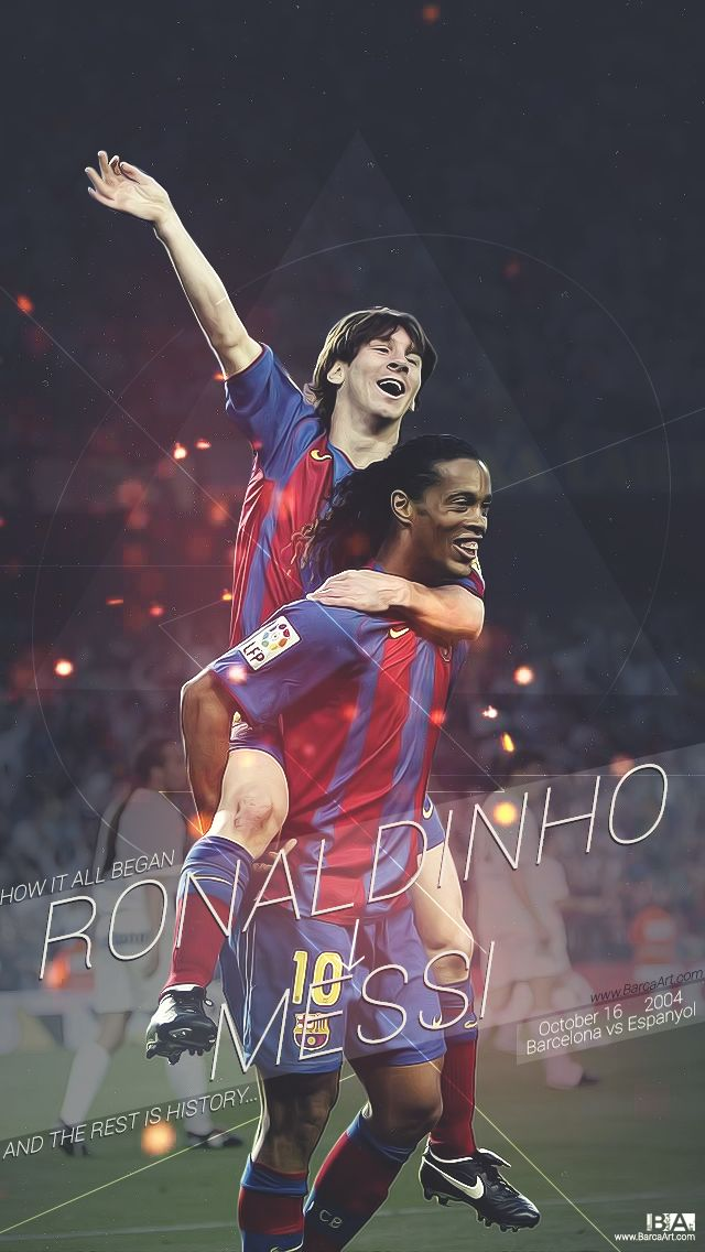738. Wallpaper: Messi and Ronaldinho #fcblive [by @barcaart_]