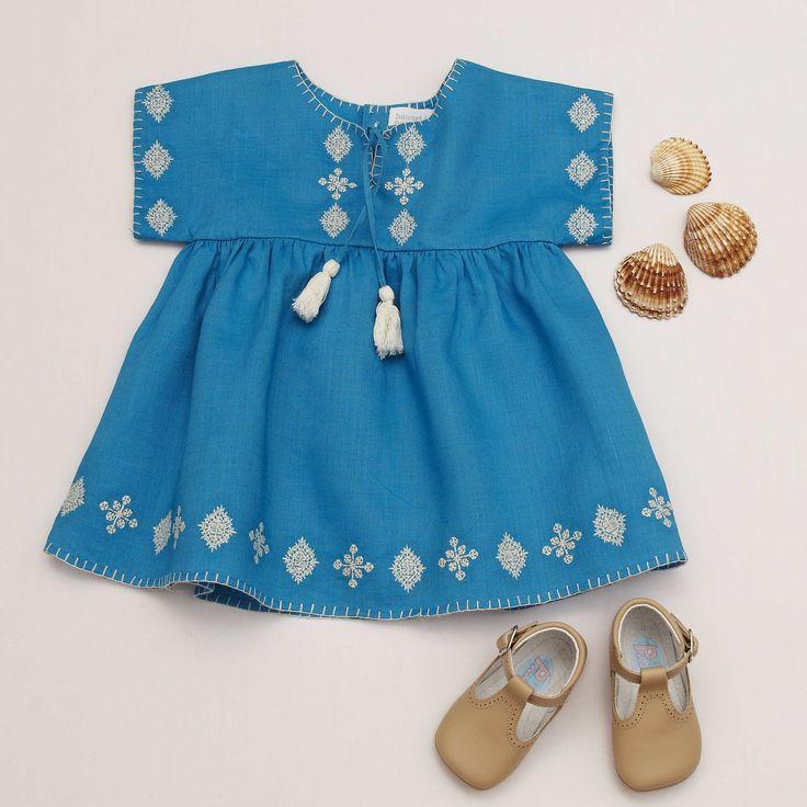 Embroidered Electric Blue Dress - Bonnet a Ponpom