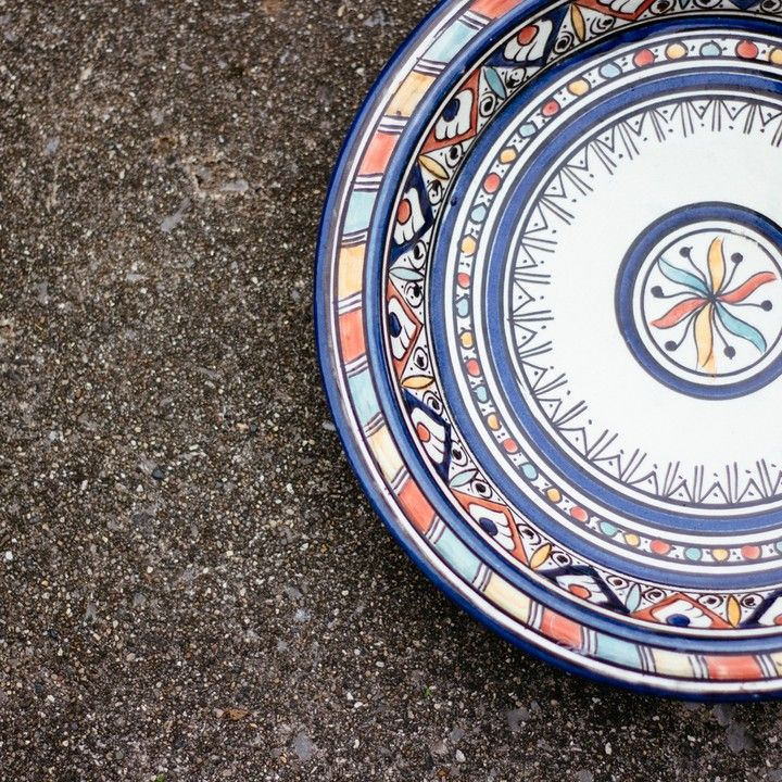 Hand Painted Moroccan Ceramic Serving Plate from Trouvaille Boutique