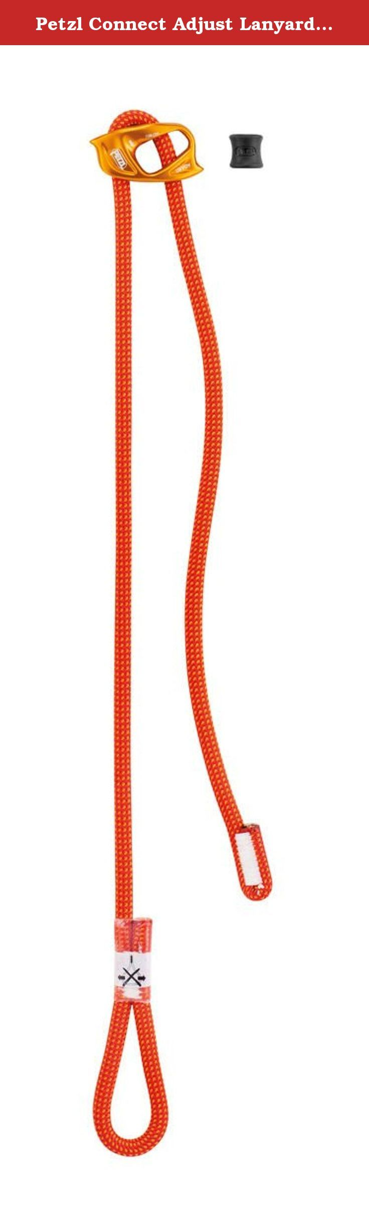 Petzl Connect Adjust Lanyard One Size. FEATURES of the Petzl Connect Adjust Lanyard Single positioning lanyard with adjustable arm The ADJUST rope adjuster's ergonomic shape offers quick, precise adjustment Lanyard adjusts from 15 to 95 cm The connector held in position by a rubber ring, to facilitate clipping Dynamic rope lanyard to reduce the force transmitted to the user in case of a short fall Attaches to the tie-in point(s) of the harness with a girth hitch.