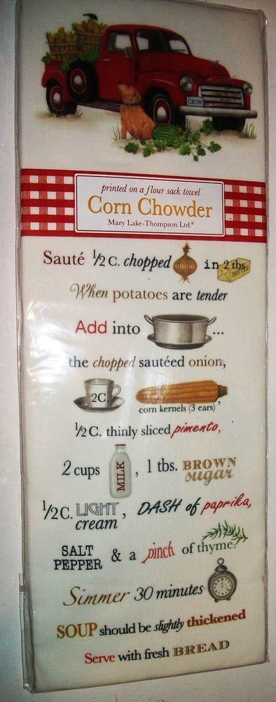 Flour Sack Kitchen Towel Mary Lake Thompson Ltd - Corn Chowder Recipe New #MaryLakeThompsonLtd