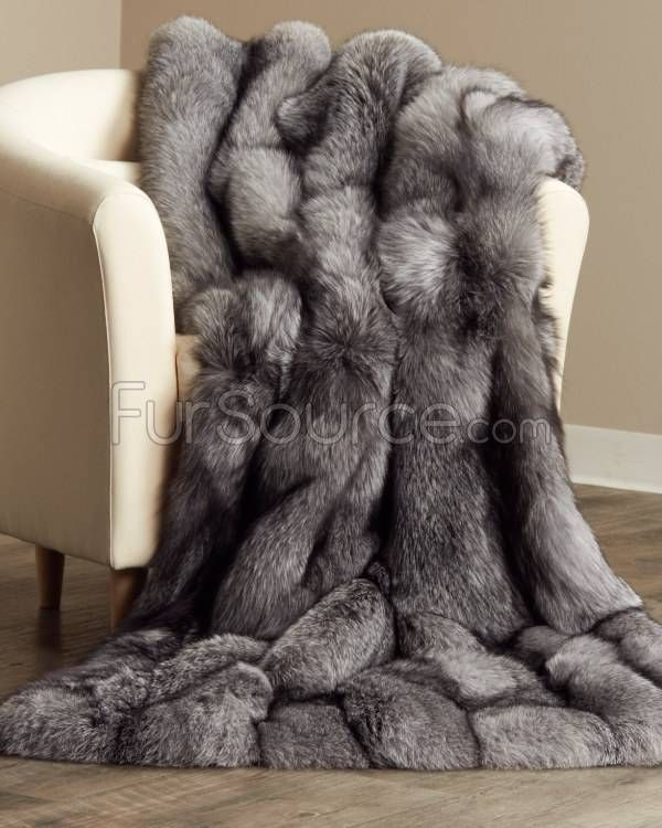 Full Pelt Silver Indigo Fox Fur Blanket / Fur Throw